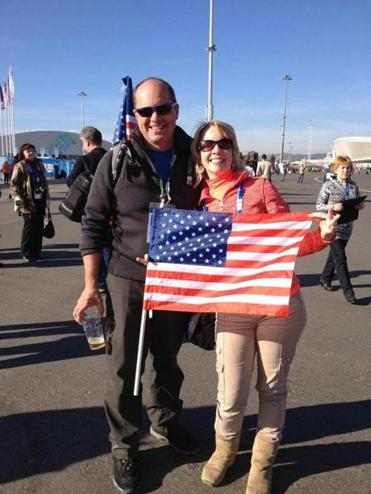Chris and Kristin Caplice of Boston credited their flag for improved relations.